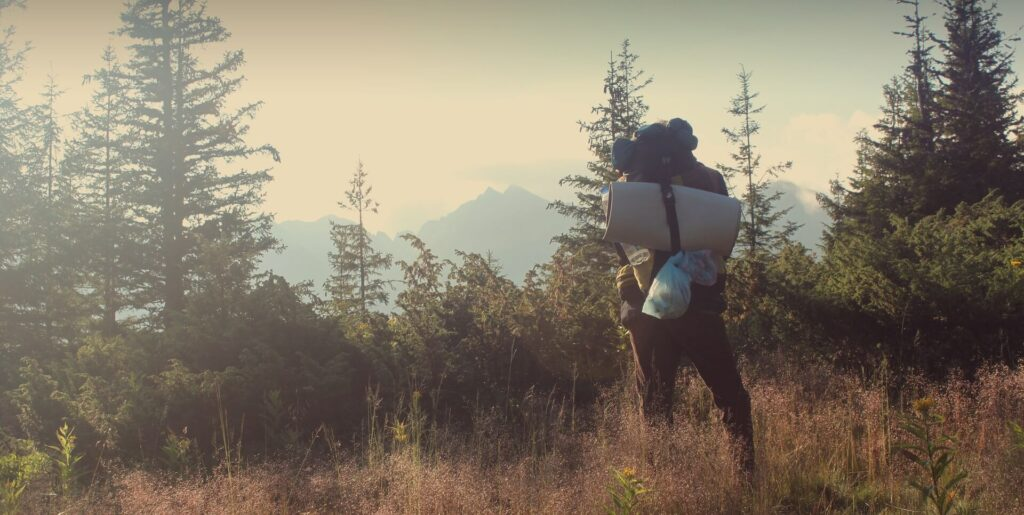 A hiker with a backpack and gear admires the landscape