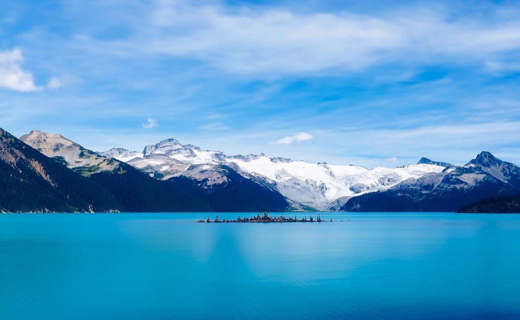 Clear blue waters of Garibaldi Lake near Vancouver